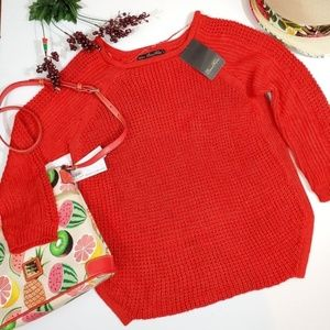 Zara Brand New Red Open Knit Sweater. Size Large